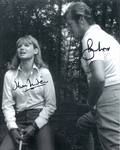 Sir Roger Moore and Jennie Linden hand signed Autograph comes with COA - 10286